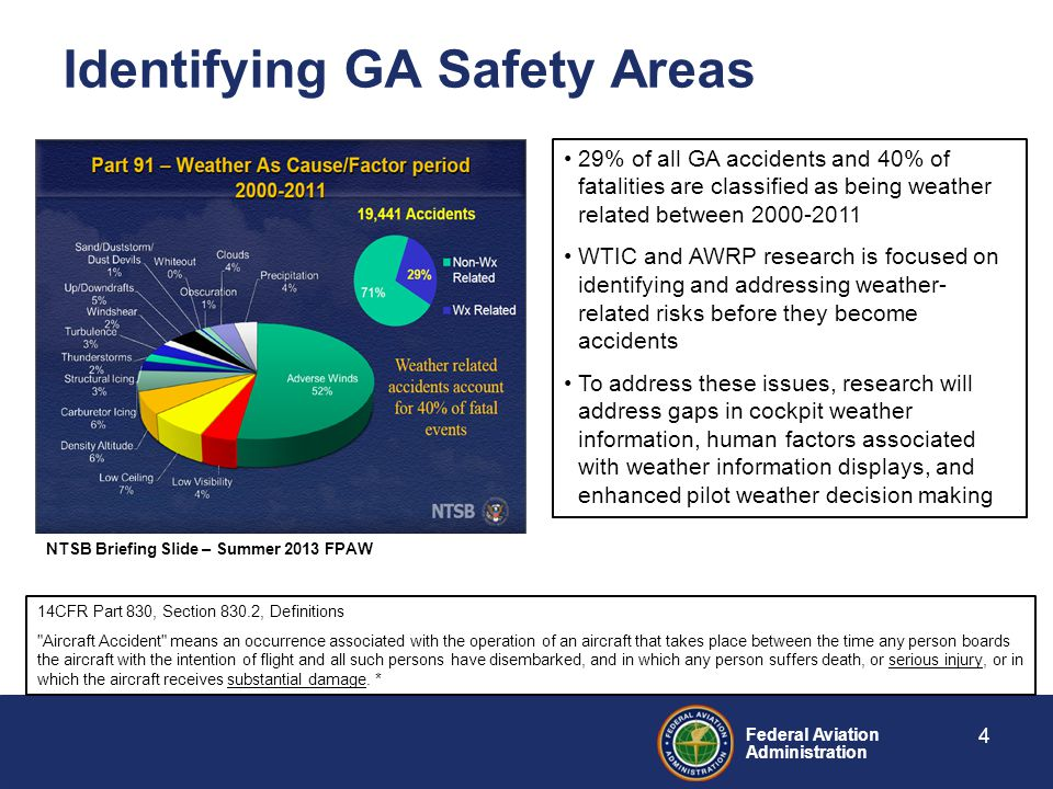 Federal Aviation Administration Identifying GA Safety Areas 4 NTSB Briefing Slide – Summer 2013 FPAW 29% of all GA accidents and 40% of fatalities are classified as being weather related between 2000-2011 WTIC and AWRP research is focused on identifying and addressing weather- related risks before they become accidents To address these issues, research will address gaps in cockpit weather information, human factors associated with weather information displays, and enhanced pilot weather decision making 14CFR Part 830, Section 830.2, Definitions Aircraft Accident means an occurrence associated with the operation of an aircraft that takes place between the time any person boards the aircraft with the intention of flight and all such persons have disembarked, and in which any person suffers death, or serious injury, or in which the aircraft receives substantial damage.