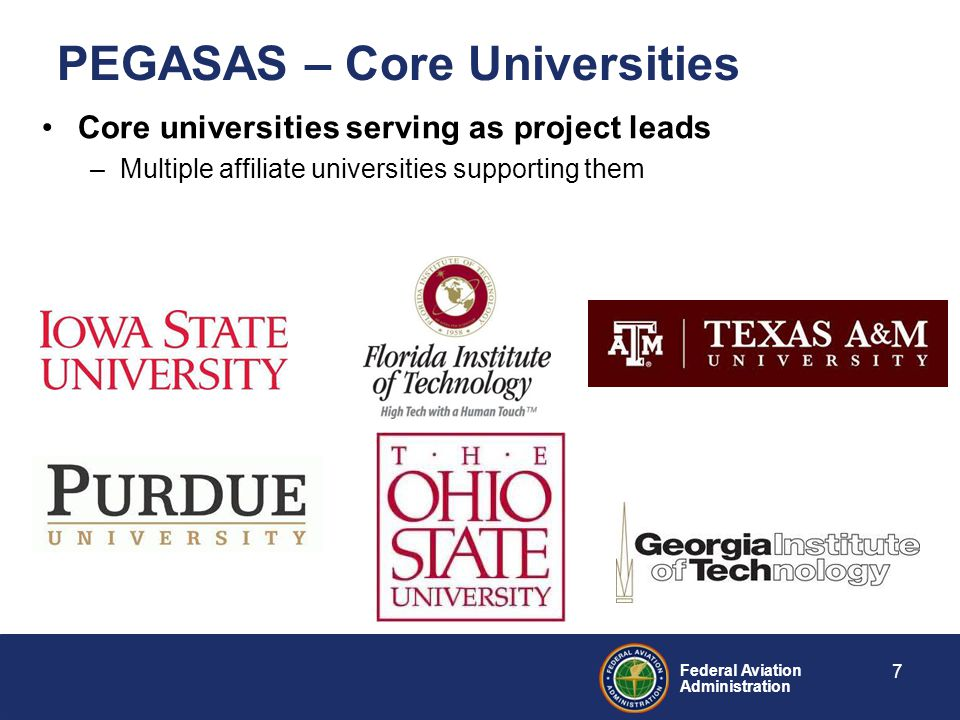 Federal Aviation Administration PEGASAS – Core Universities Core universities serving as project leads –Multiple affiliate universities supporting them 7