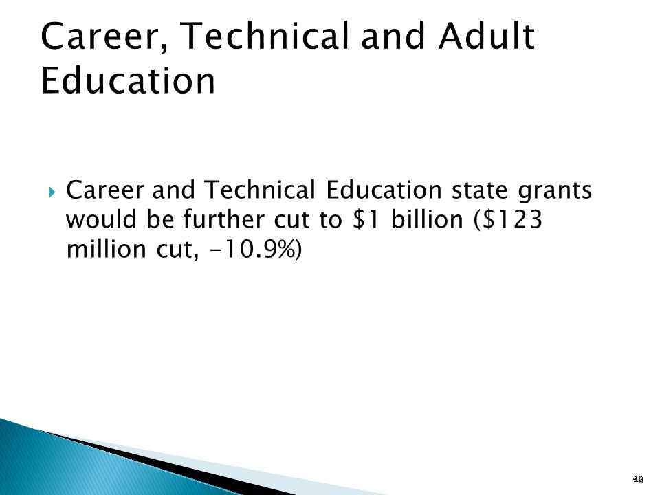  Career and Technical Education state grants would be further cut to $1 billion ($123 million cut, -10.9%) 46