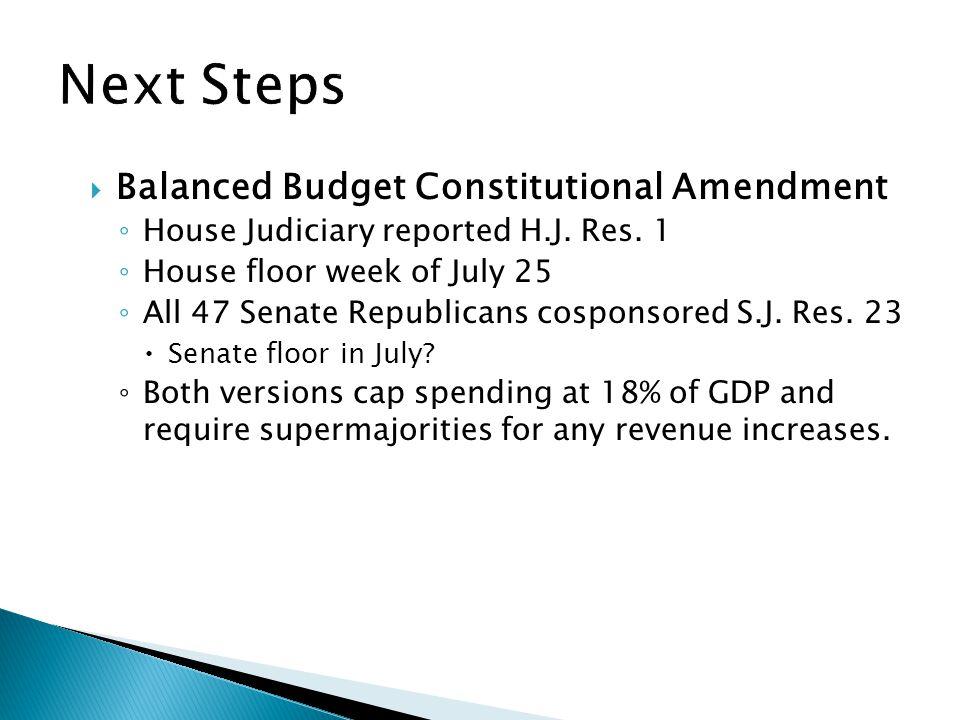  Balanced Budget Constitutional Amendment ◦ House Judiciary reported H.J.