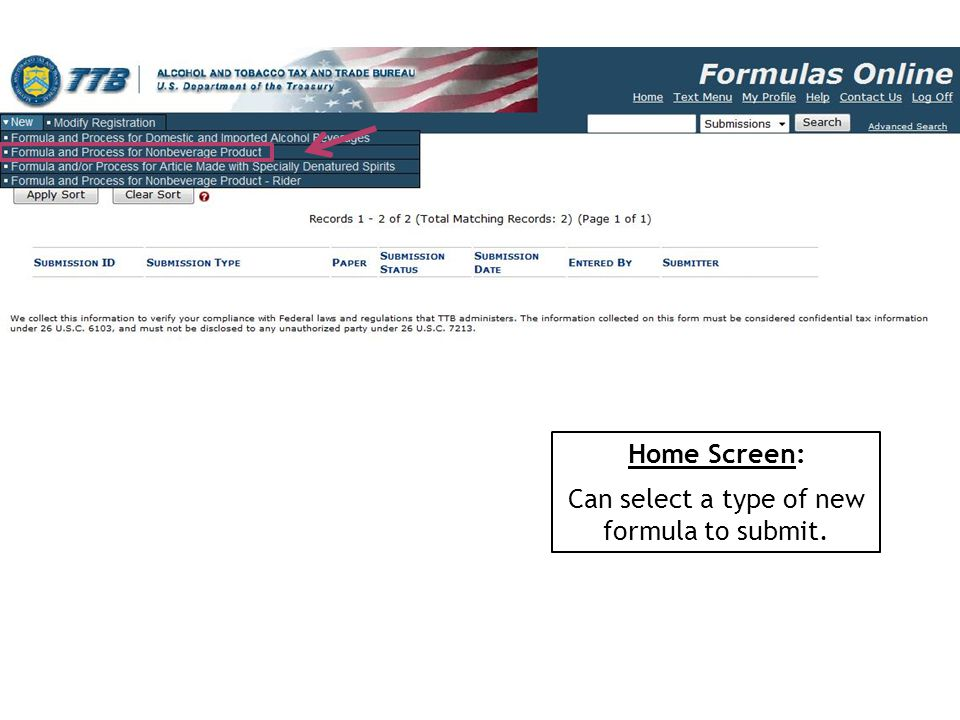 Home Screen: Can select a type of new formula to submit.