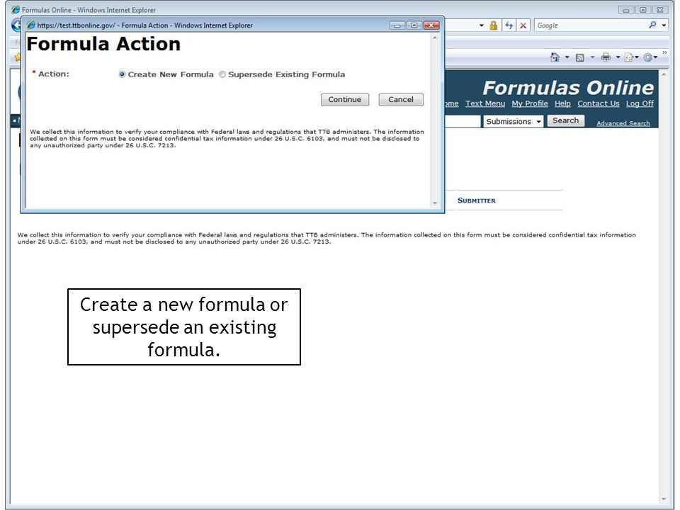 Create a new formula or supersede an existing formula.