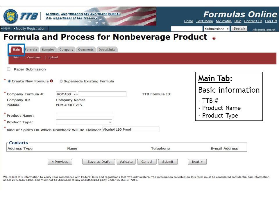 Main Tab: Basic information - TTB # - Product Name - Product Type