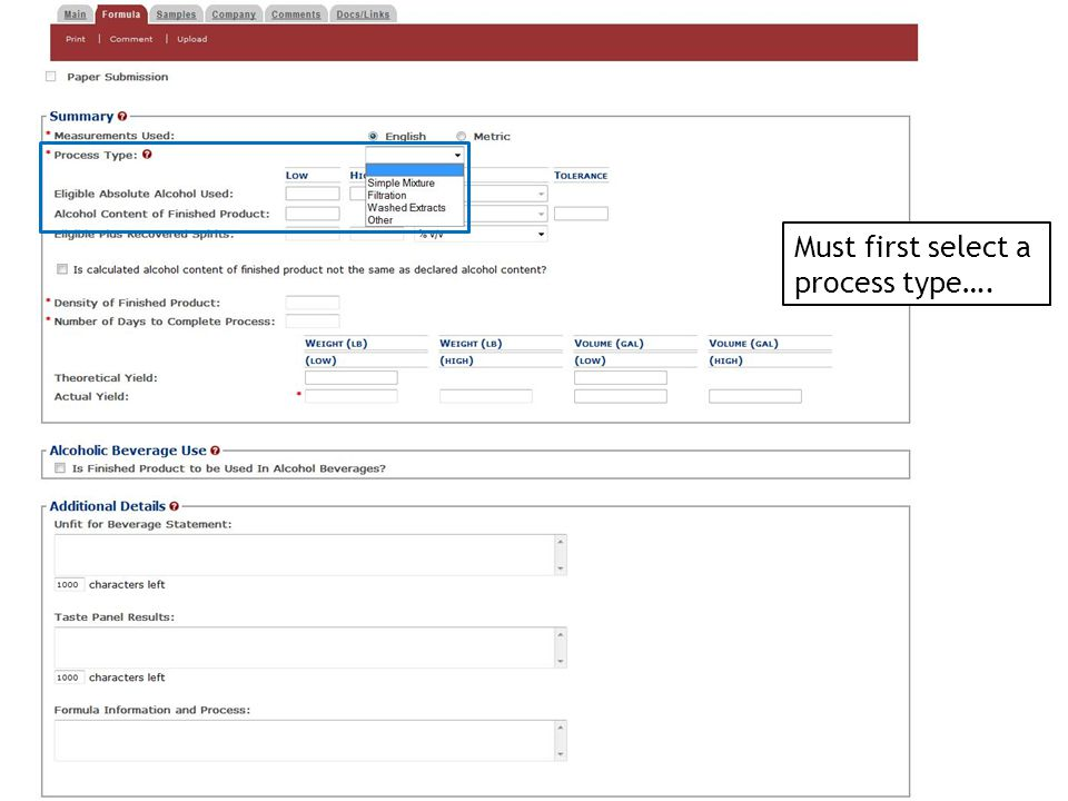 Must first select a process type….