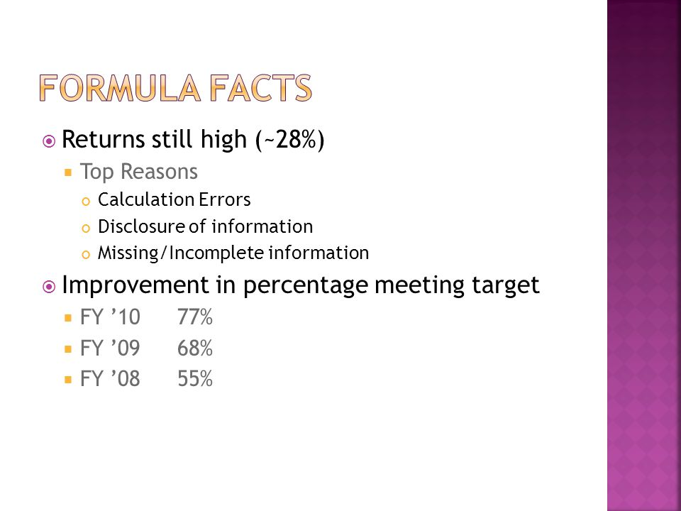  Returns still high (~28%)  Top Reasons Calculation Errors Disclosure of information Missing/Incomplete information  Improvement in percentage meet