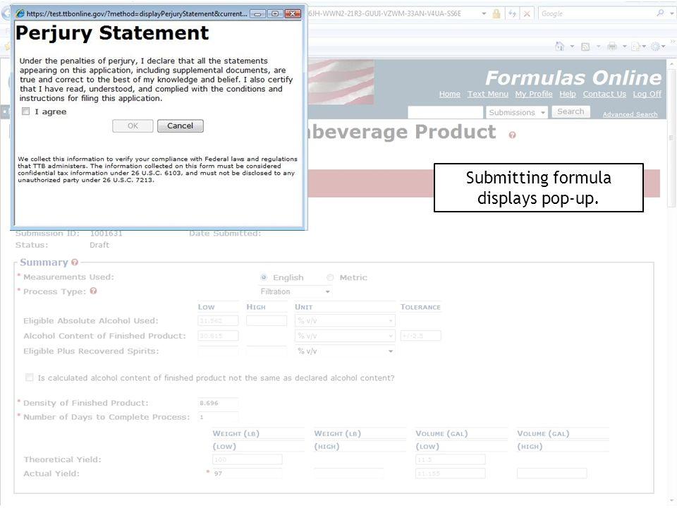 Submitting formula displays pop-up.