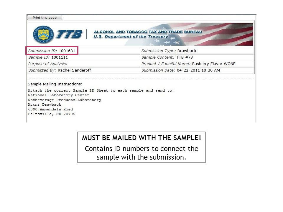 MUST BE MAILED WITH THE SAMPLE! Contains ID numbers to connect the sample with the submission.