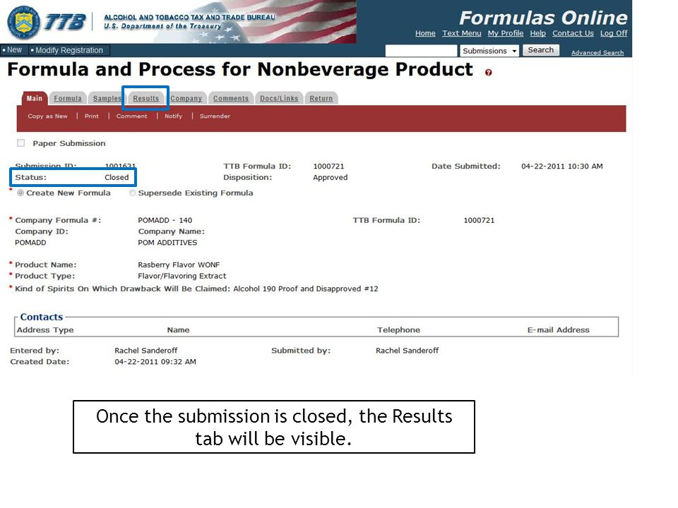 Once the submission is closed, the Results tab will be visible.