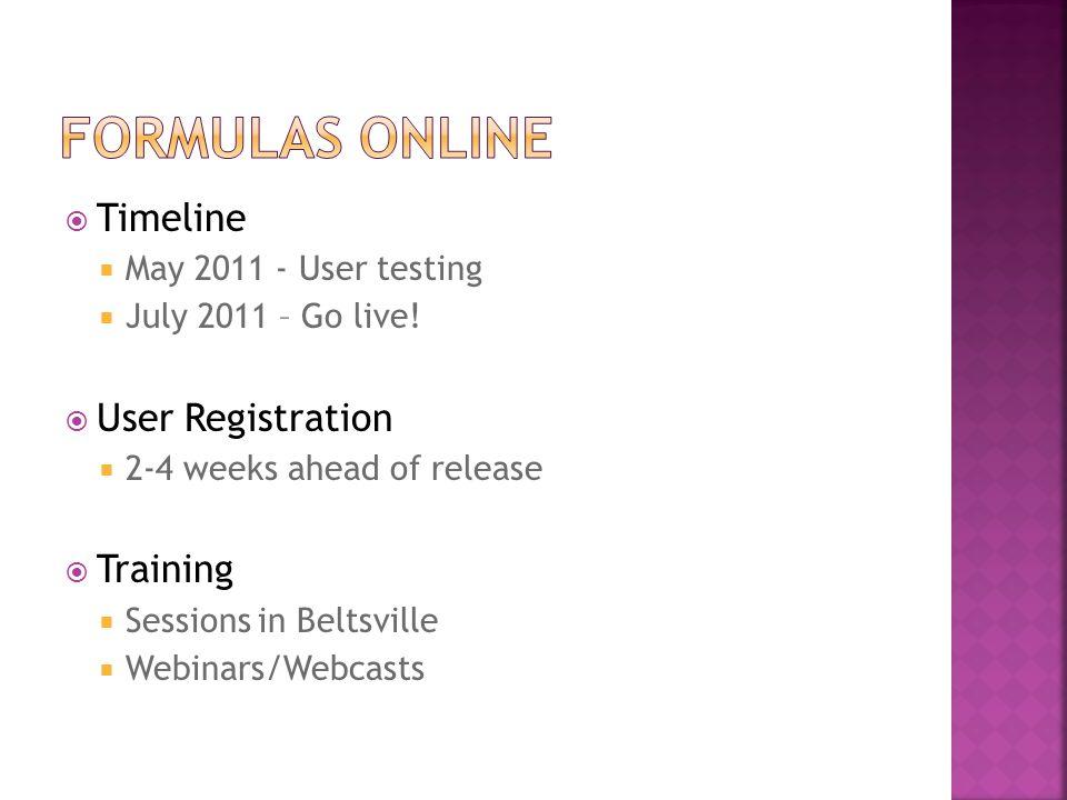  Timeline  May 2011 - User testing  July 2011 – Go live!  User Registration  2-4 weeks ahead of release  Training  Sessions in Beltsville  Web