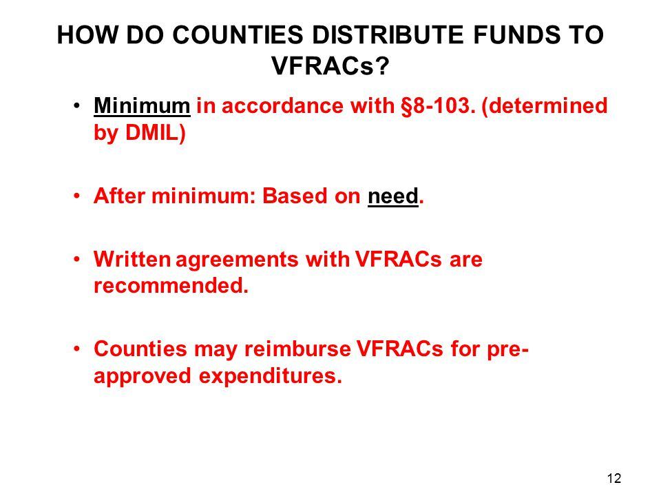HOW DO COUNTIES DISTRIBUTE FUNDS TO VFRACs. Minimum in accordance with §8-103.