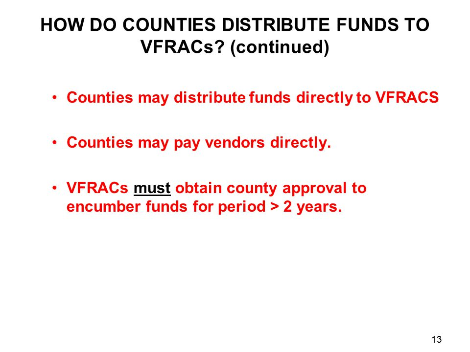 HOW DO COUNTIES DISTRIBUTE FUNDS TO VFRACs.