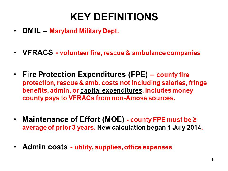 KEY DEFINITIONS DMIL – Maryland Military Dept.