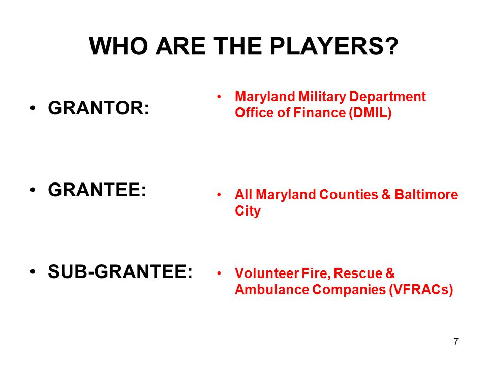 WHO ARE THE PLAYERS? GRANTOR: GRANTEE: SUB-GRANTEE: Maryland Military Department Office of Finance (DMIL) All Maryland Counties & Baltimore City Volun