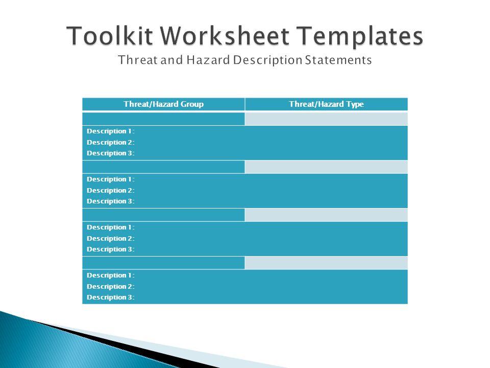 Threat/Hazard GroupThreat/Hazard Type Description 1: Description 2: Description 3: Description 1: Description 2: Description 3: Description 1: Descrip