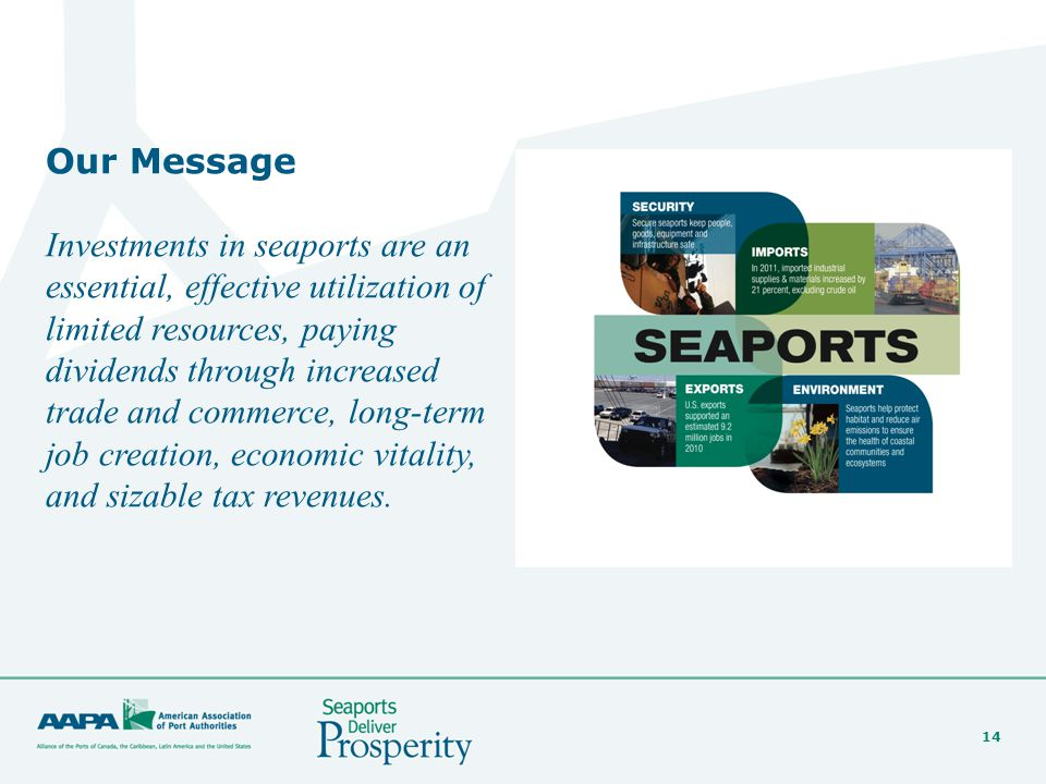 14 Our Message Investments in seaports are an essential, effective utilization of limited resources, paying dividends through increased trade and comm