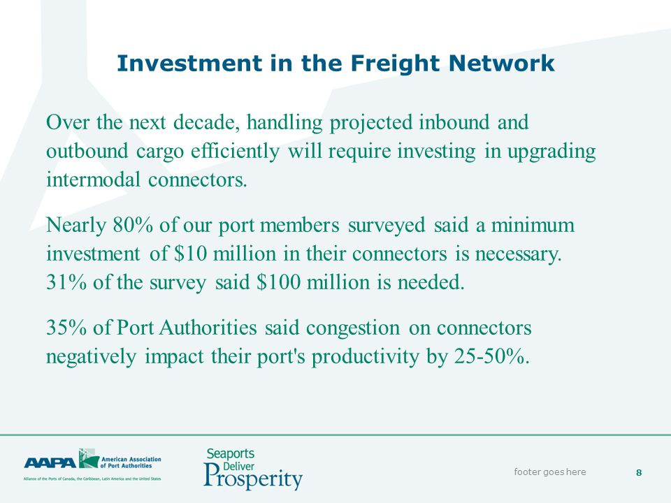 8 Investment in the Freight Network footer goes here Over the next decade, handling projected inbound and outbound cargo efficiently will require inve