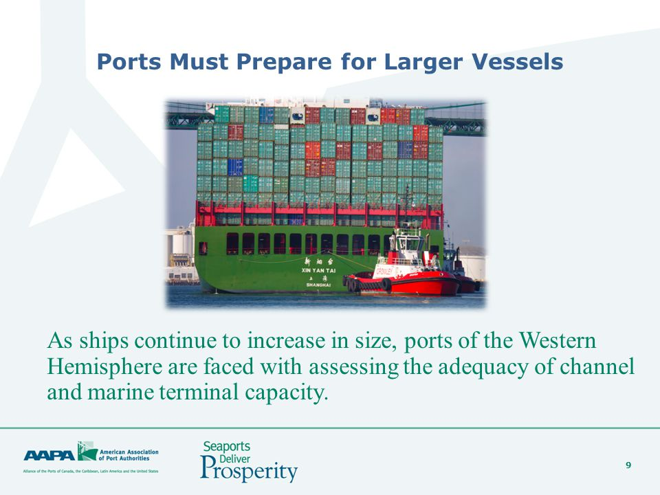 9 Ports Must Prepare for Larger Vessels As ships continue to increase in size, ports of the Western Hemisphere are faced with assessing the adequacy of channel and marine terminal capacity.