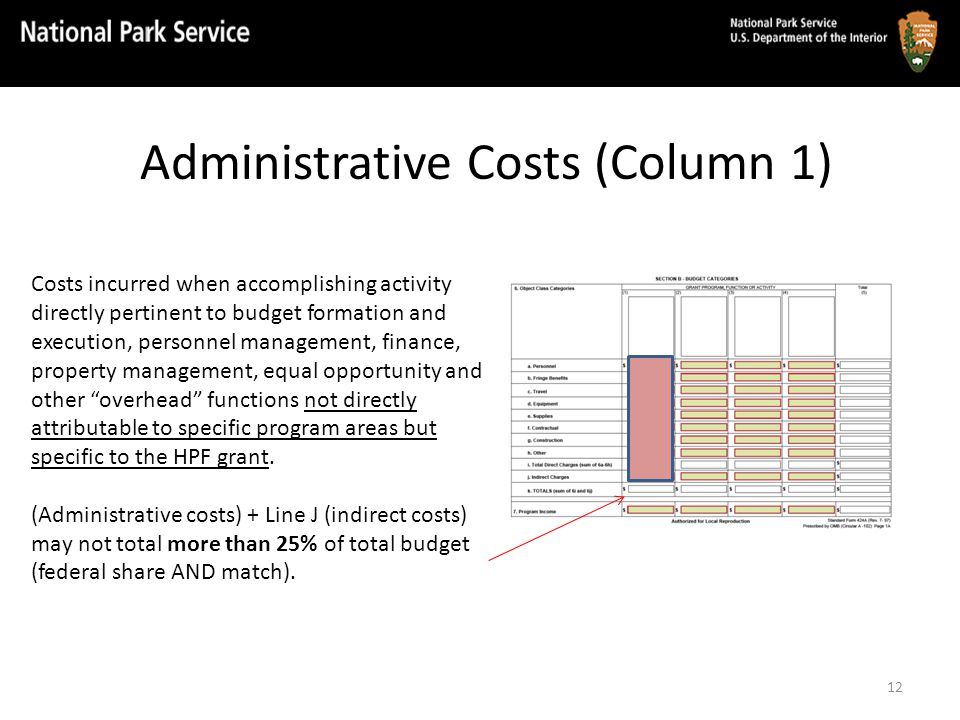 Administrative Costs (Column 1) Costs incurred when accomplishing activity directly pertinent to budget formation and execution, personnel management, finance, property management, equal opportunity and other overhead functions not directly attributable to specific program areas but specific to the HPF grant.