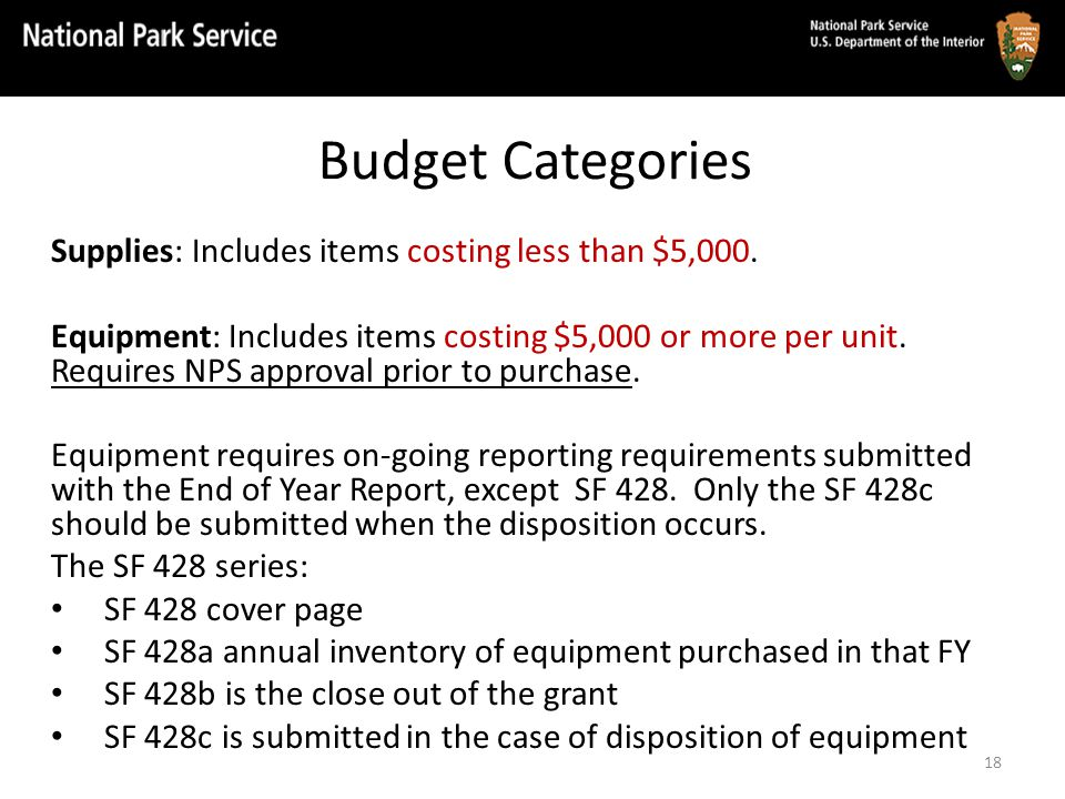 Budget Categories Supplies: Includes items costing less than $5,000.