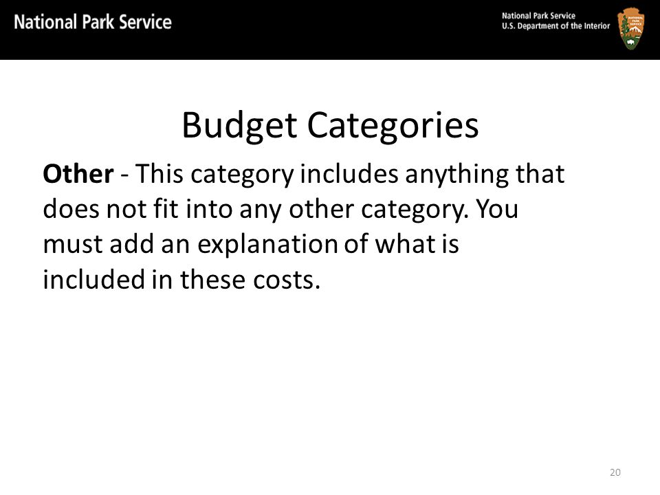 Budget Categories Other - This category includes anything that does not fit into any other category.