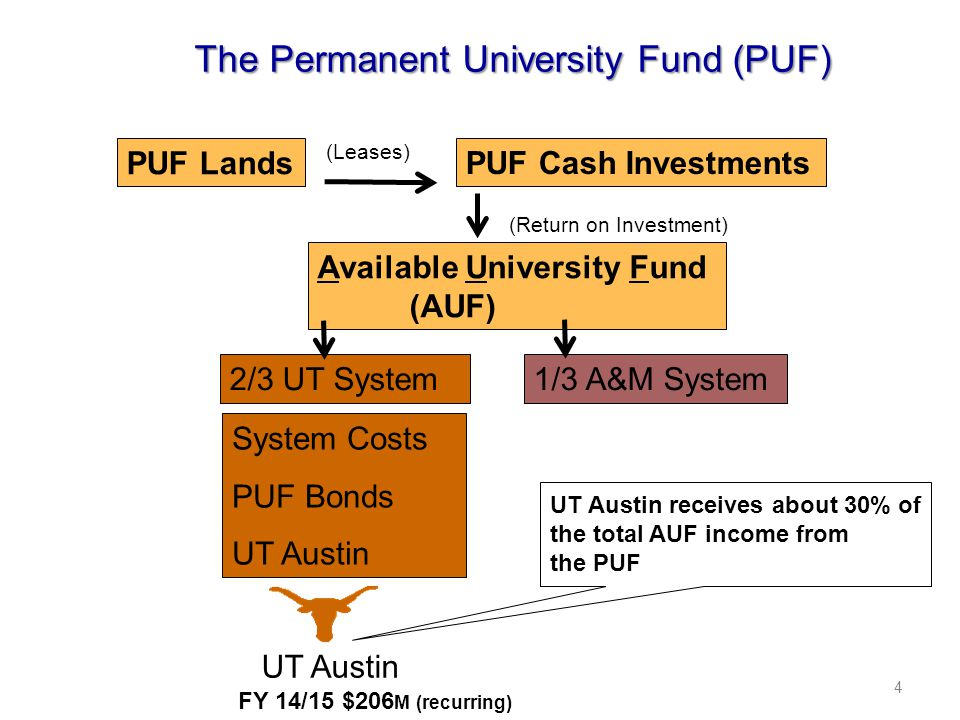4 The Permanent University Fund (PUF) PUF Lands Available University Fund (AUF) 2/3 UT System1/3 A&M System System Costs PUF Bonds UT Austin UT Austin receives about 30% of the total AUF income from the PUF UT Austin FY 14/15 $206 M (recurring) PUF Cash Investments (Leases) (Return on Investment)