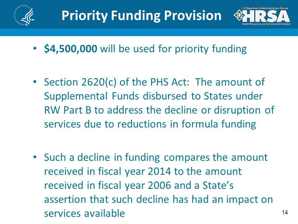14 Priority Funding Provision $4,500,000 will be used for priority funding Section 2620(c) of the PHS Act: The amount of Supplemental Funds disbursed