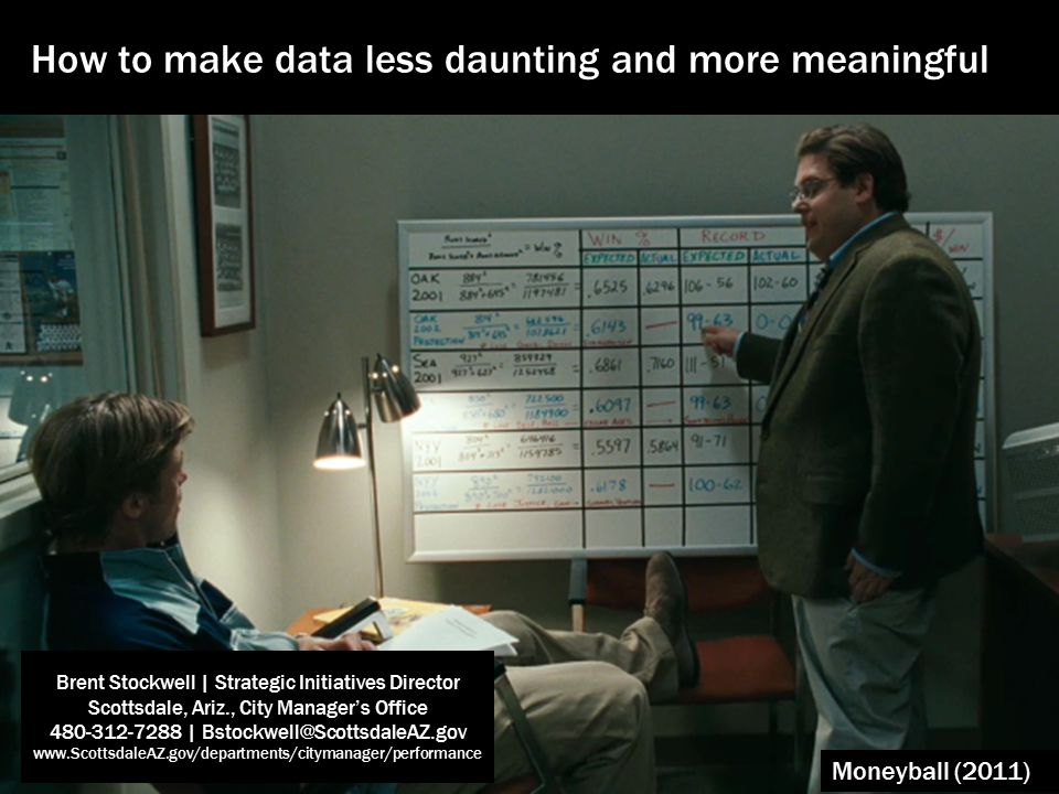 Moneyball (2011) How to make data less daunting and more meaningful Brent Stockwell | Strategic Initiatives Director Scottsdale, Ariz., City Manager's Office 480-312-7288 | Bstockwell@ScottsdaleAZ.gov www.ScottsdaleAZ.gov/departments/citymanager/performance