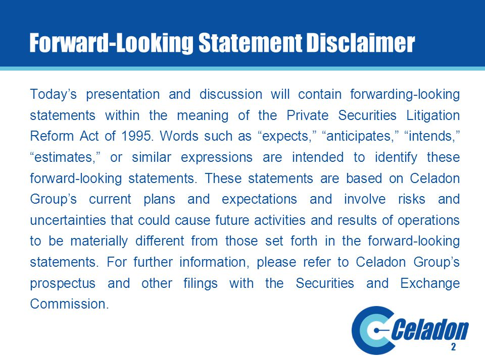 2 Forward-Looking Statement Disclaimer Today's presentation and discussion will contain forwarding-looking statements within the meaning of the Private Securities Litigation Reform Act of 1995.
