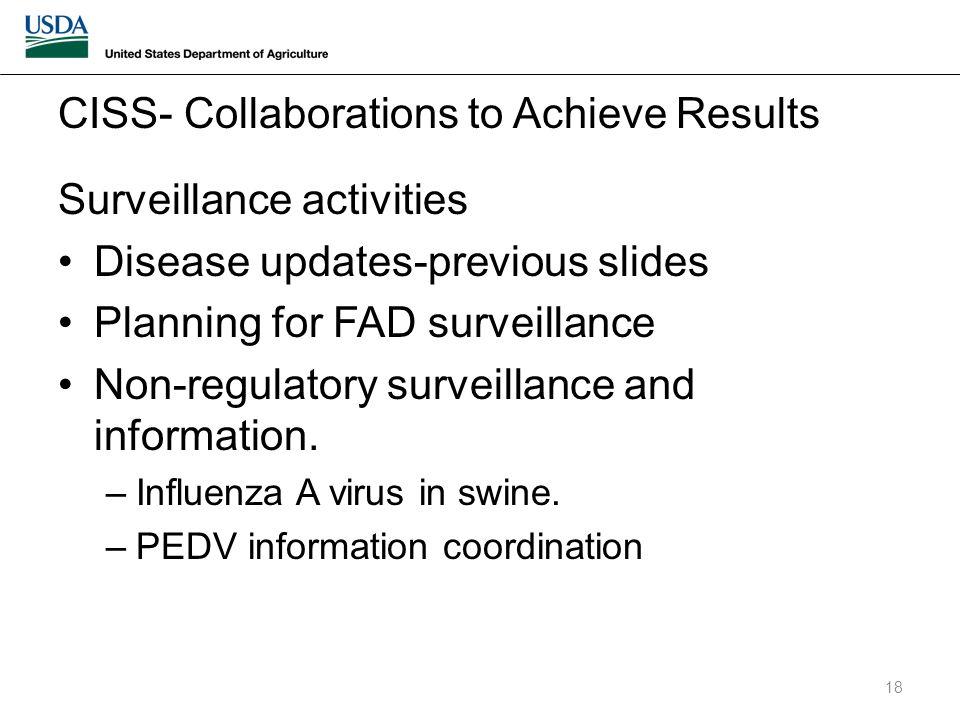 Surveillance activities Disease updates-previous slides Planning for FAD surveillance Non-regulatory surveillance and information.