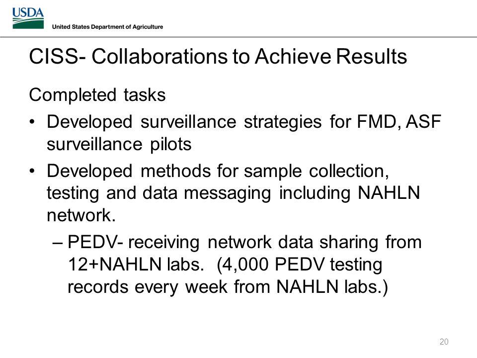 Completed tasks Developed surveillance strategies for FMD, ASF surveillance pilots Developed methods for sample collection, testing and data messaging including NAHLN network.