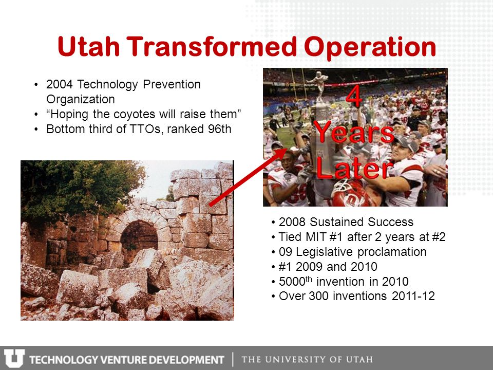 Utah Transformed Operation 2004 Technology Prevention Organization Hoping the coyotes will raise them Bottom third of TTOs, ranked 96th 2008 Sustained Success Tied MIT #1 after 2 years at #2 09 Legislative proclamation #1 2009 and 2010 5000 th invention in 2010 Over 300 inventions 2011-12