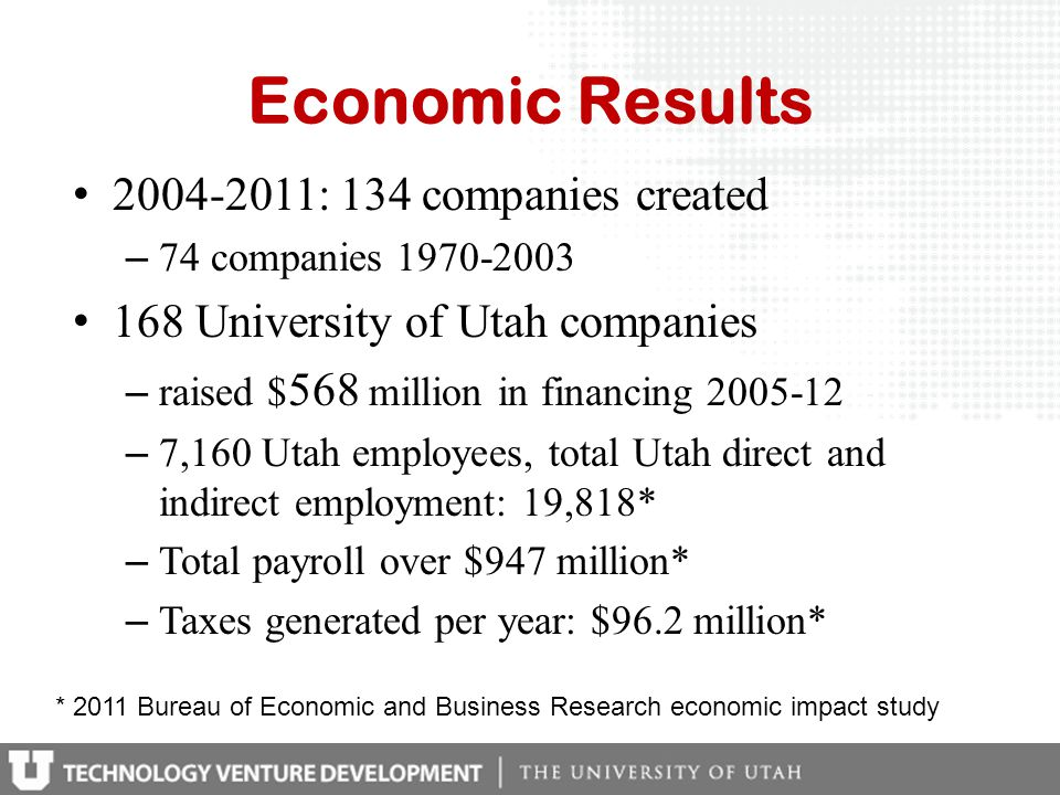 Economic Results 2004-2011: 134 companies created – 74 companies 1970-2003 168 University of Utah companies – raised $ 568 million in financing 2005-1