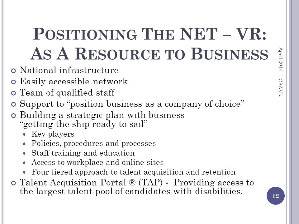 P OSITIONING T HE NET – VR: A S A R ESOURCE TO B USINESS National infrastructure Easily accessible network Team of qualified staff Support to position business as a company of choice Building a strategic plan with business getting the ship ready to sail Key players Policies, procedures and processes Staff training and education Access to workplace and online sites Four tiered approach to talent acquisition and retention Talent Acquisition Portal ® (TAP) - Providing access to the largest talent pool of candidates with disabilities.