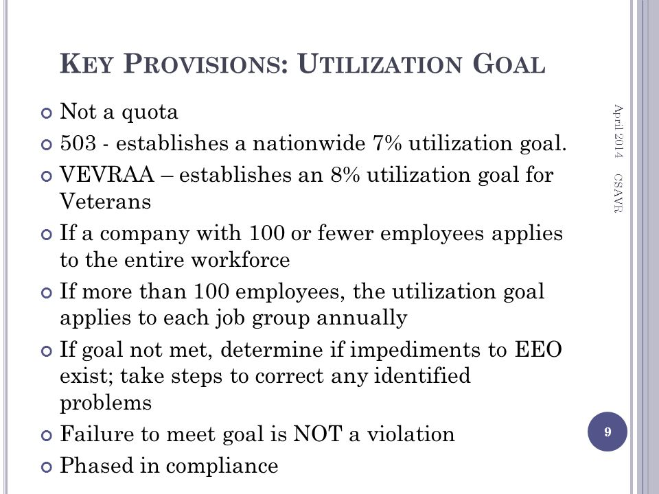 K EY P ROVISIONS : U TILIZATION G OAL Not a quota 503 - establishes a nationwide 7% utilization goal.