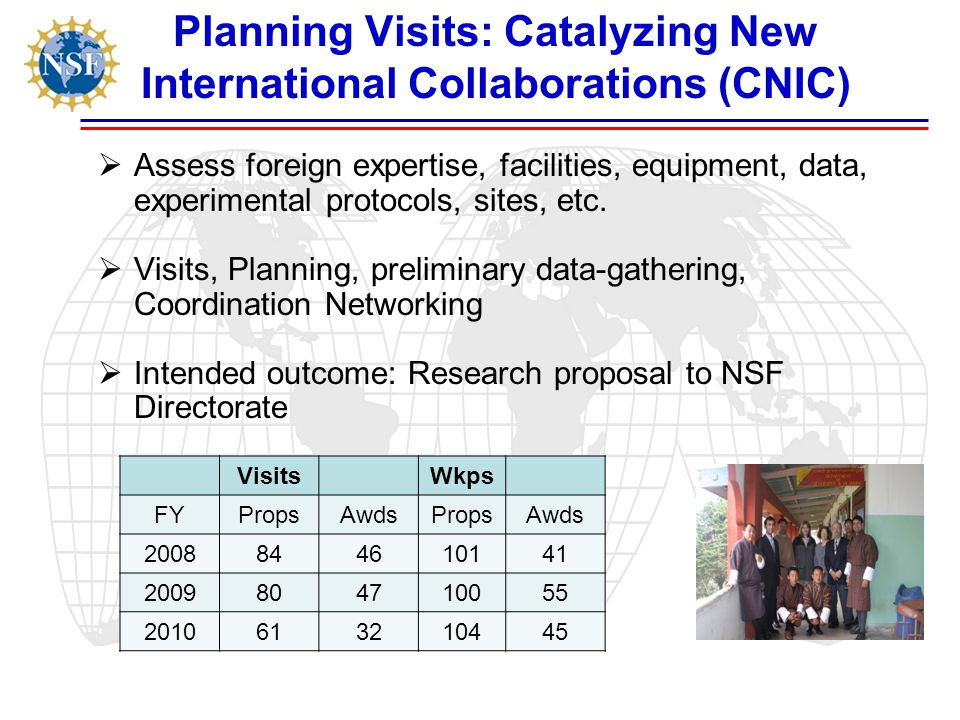 Planning Visits: Catalyzing New International Collaborations (CNIC)  Assess foreign expertise, facilities, equipment, data, experimental protocols, sites, etc.