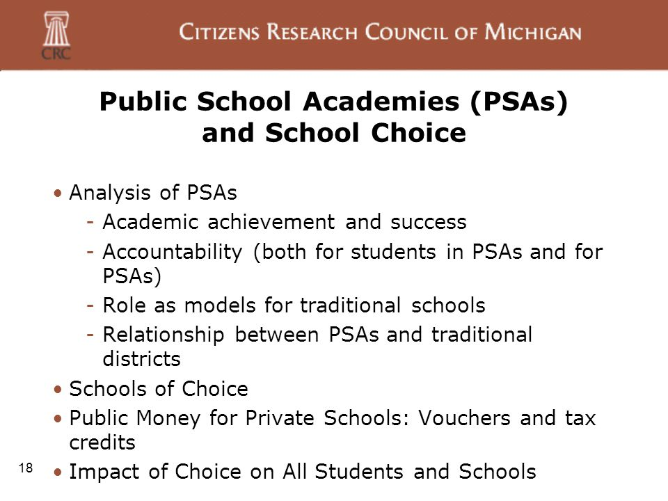 18 Public School Academies (PSAs) and School Choice Analysis of PSAs -Academic achievement and success -Accountability (both for students in PSAs and for PSAs) -Role as models for traditional schools -Relationship between PSAs and traditional districts Schools of Choice Public Money for Private Schools: Vouchers and tax credits Impact of Choice on All Students and Schools