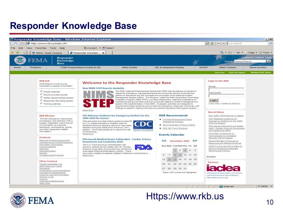 Responder Knowledge Base 10 Https://www.rkb.us