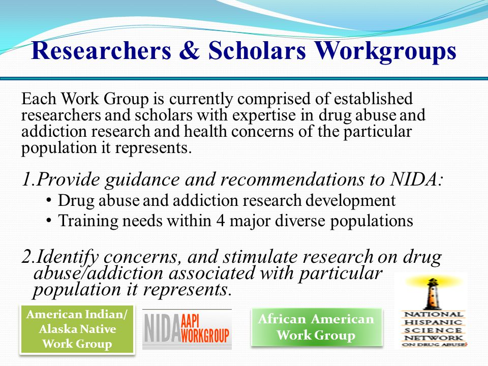 Researchers & Scholars Workgroups Each Work Group is currently comprised of established researchers and scholars with expertise in drug abuse and addiction research and health concerns of the particular population it represents.