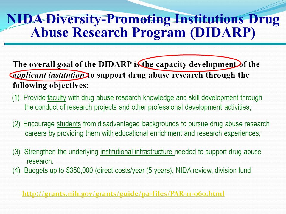 NIDA Diversity-Promoting Institutions Drug Abuse Research Program (DIDARP) The overall goal of the DIDARP is the capacity development of the applicant institution to support drug abuse research through the following objectives: http://grants.nih.gov/grants/guide/pa-files/PAR-11-060.html (1) Provide faculty with drug abuse research knowledge and skill development through the conduct of research projects and other professional development activities; (2)Encourage students from disadvantaged backgrounds to pursue drug abuse research careers by providing them with educational enrichment and research experiences; (3) Strengthen the underlying institutional infrastructure needed to support drug abuse research.