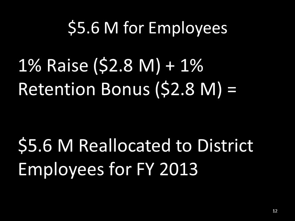 $5.6 M for Employees 1% Raise ($2.8 M) + 1% Retention Bonus ($2.8 M) = $5.6 M Reallocated to District Employees for FY 2013 12