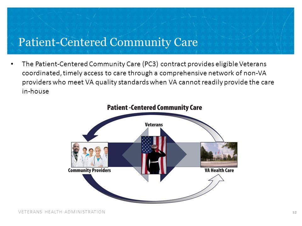 VETERANS HEALTH ADMINISTRATION Patient-Centered Community Care The Patient-Centered Community Care (PC3) contract provides eligible Veterans coordinat