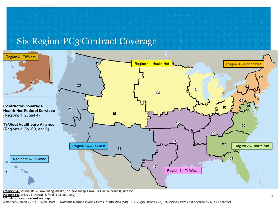 VETERANS HEALTH ADMINISTRATION Six Region PC3 Contract Coverage 18