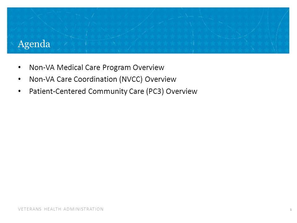 VETERANS HEALTH ADMINISTRATION Agenda Non-VA Medical Care Program Overview Non-VA Care Coordination (NVCC) Overview Patient-Centered Community Care (PC3) Overview 1