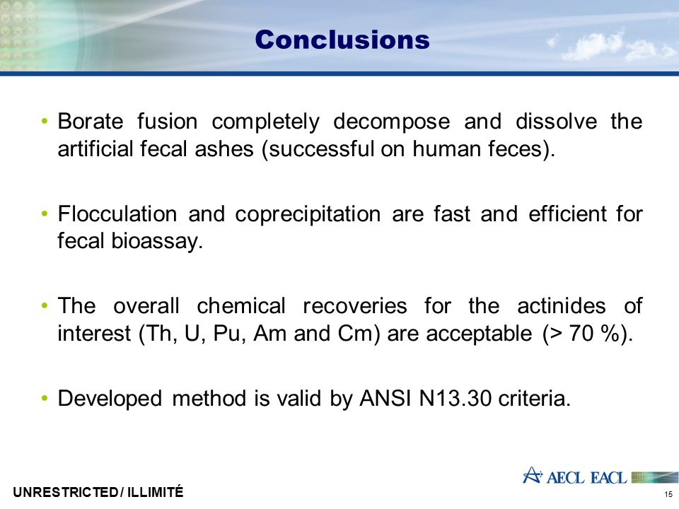 Conclusions Borate fusion completely decompose and dissolve the artificial fecal ashes (successful on human feces).