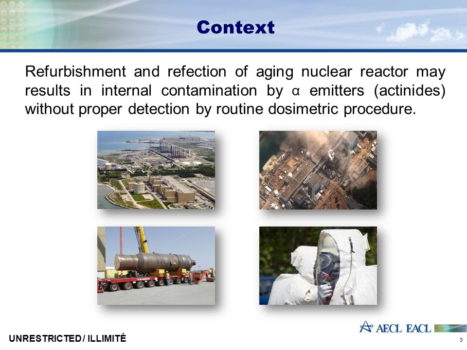 Context Refurbishment and refection of aging nuclear reactor may results in internal contamination by α emitters (actinides) without proper detection
