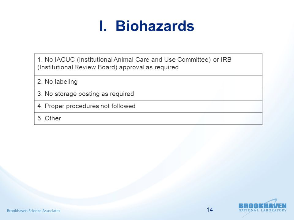 14 I. Biohazards 1.