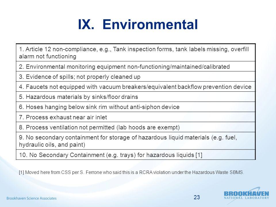 23 IX. Environmental 1.