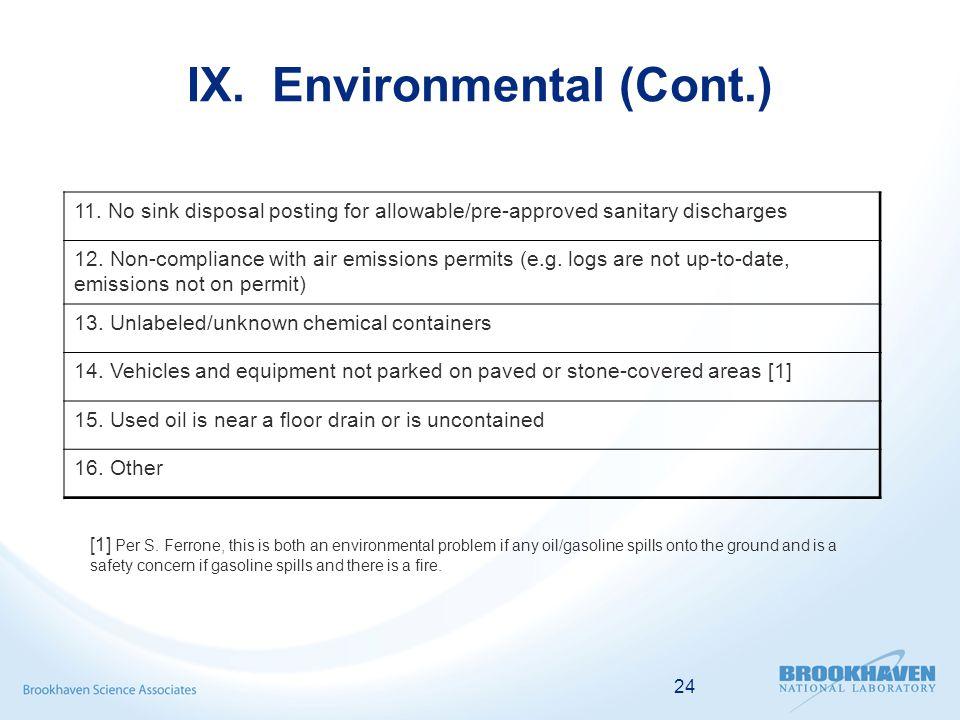 24 IX. Environmental (Cont.) [1] Per S.