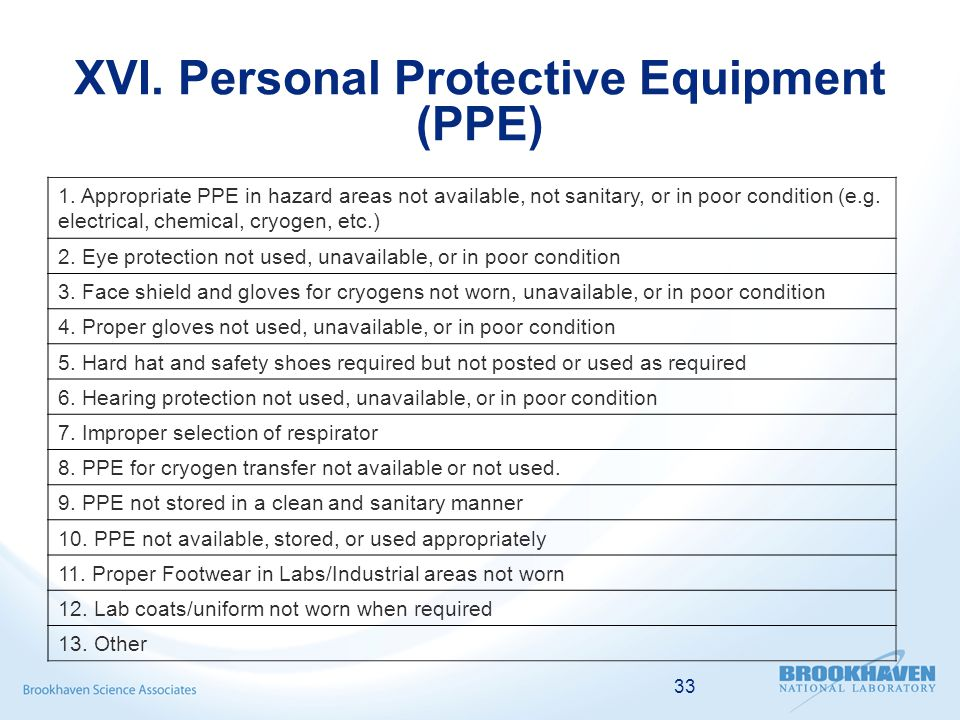 33 XVI. Personal Protective Equipment (PPE) 1.