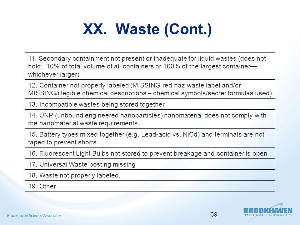 39 XX. Waste (Cont.) 11.